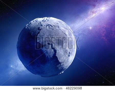 Lifeless Earth millions of years after global disaster (Elements of this 3d rendered image furnished by NASA)