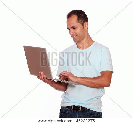 Latin Adult Man Using His Laptop Computer