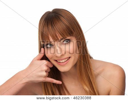 Beauty Portrait Of A Cute Girl Gesturing A Phone Call - Call Me