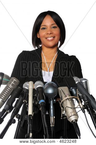 Woman Behind Microphones