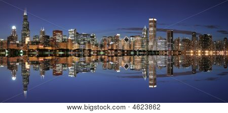 Chicago Skyline And Reflection At Night