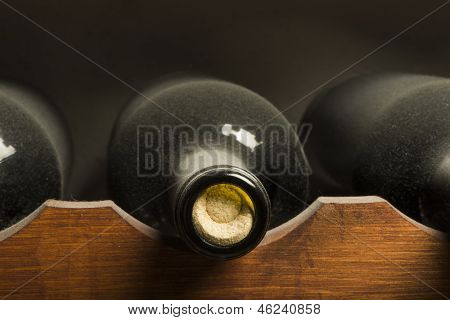 Wine Bottles On Shelf