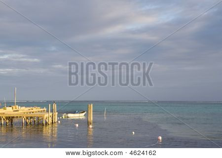 Small Boat And Dock @ Sunset