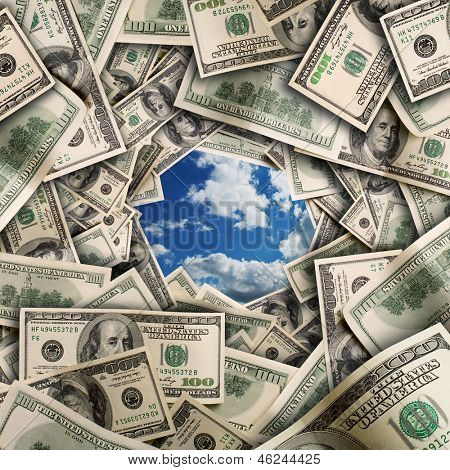 Tunnel of $100 dollar bills with blue sky in center