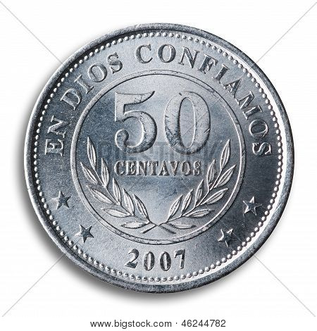 Nicaraguan Coin, White Background.