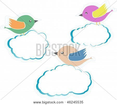 Birds On Clouds Isolated On White