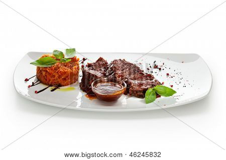 Stew Beef with Cabbage and Demi Glace Sauce
