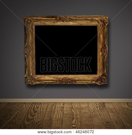 Picture Frame In Old Wall.