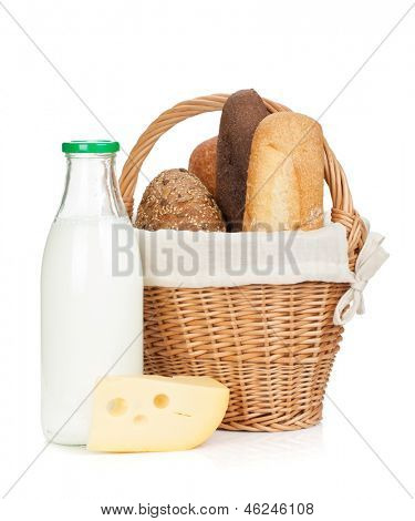Picnic basket with bread, cheese and milk bottle. Isolated on white background