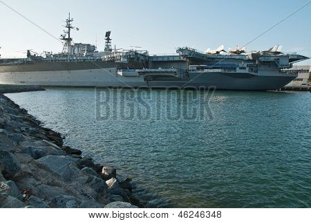 Aircraft carrier on the port