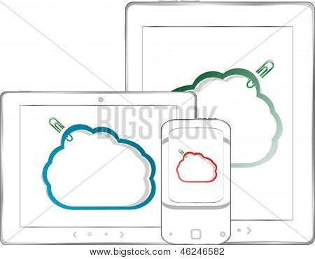 Set Of Tablet Pc Computers And Clouds