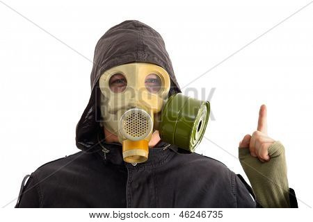 Man in gas mask, white background