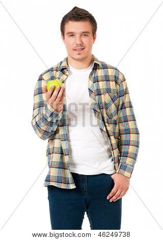 Young man with green apple isolated on white background