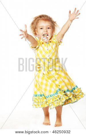 Portrait of funny lovely little girl with soap bubbles