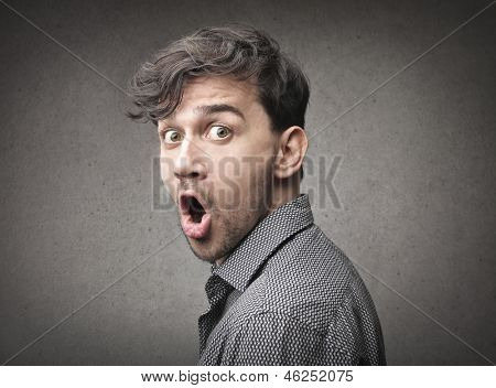portrait of amazed man