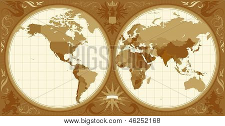 World Map With Retro-styled Hemispheres