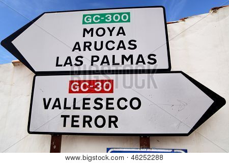Road signs at Gran Canaria island