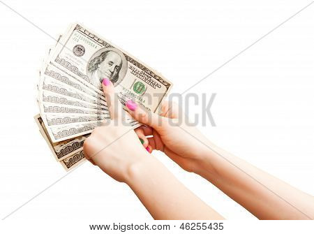 Woman Hand Holding 100 Us Dollar Banknotes, Isolated On White Background