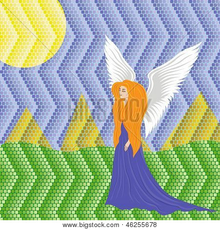 Woman Angel On Mosaic Background
