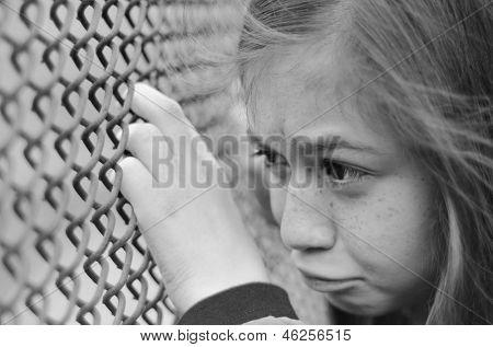 Sad depressed girl in black and white tone
