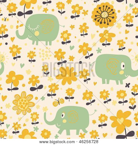 Cute seamless pattern with elephants and yellow flowers. Spring floral vector background can be used for pattern fills, web page backgrounds, surface textures. Great for children bedroom wallpaper