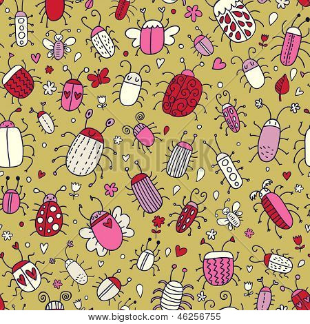 Cute seamless pattern made of summer bugs. Vector background is great for children and  people who loves insects.