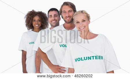Smiling volunteer group on white background