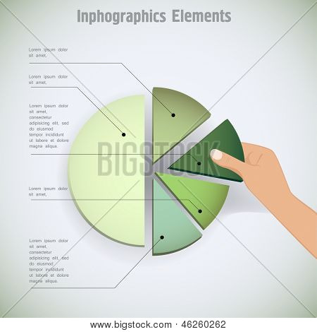 hand putting the last piece of a pie chart on place (partnership, teamwork, investment and other financial concepts) vector illustration