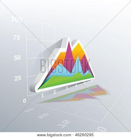 3d vector graph progress with grid