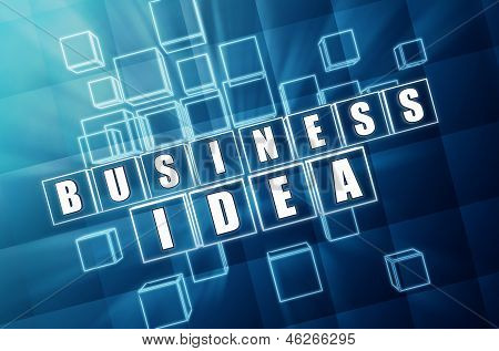 Business Idea In Blue Glass Cubes