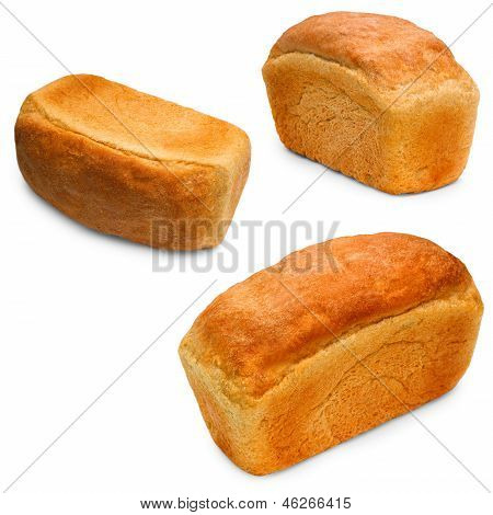 bread isolated white food loaf bakery set background baguett