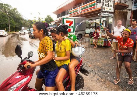 KO CHANG, THAILAND - APR 13: People celebrated Songkran Festival, on 13 Apr 2013 on Ko Chang, Thailand. Songkran is celebrated in Thailand as the traditional New Year's Day from 13 to 16 April.
