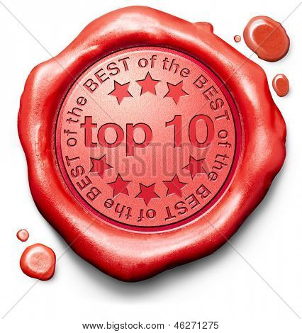 top 10 charts list pop poll result and award winners chart ranking music hits best top quality rating prize winner icon red wax seal stamp