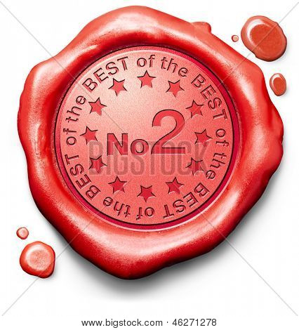 number 2 no. two charts or sports competition winners ranking results best top quality second prize award winner icon red wax seal stamp