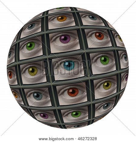 Sphere Of Screens With Multi-colored Eyes