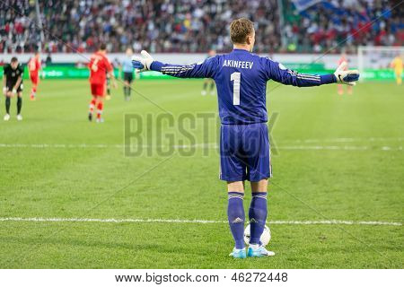 MOSCOW - SEP 7: Goalkeeper Igor Akinfeev is back on game Russian team against Northern Ireland on Lokomotiv Stadium in Cherkizovo, Sep 7, 2012, Moscow, Russia. The match ended 2-0 in favor of Russia.