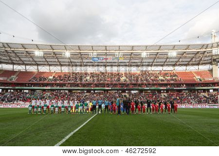 MOSCOW - SEP 7: Greeting teams on game Russian team against Northern Ireland on Lokomotiv Stadium in Cherkizovo on September 7, 2012 in Moscow, Russia. The match ended 2-0 in favor of Russia.