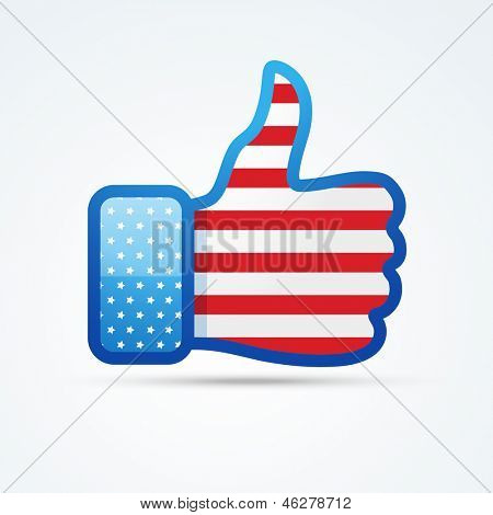 vector social thumb with american flag