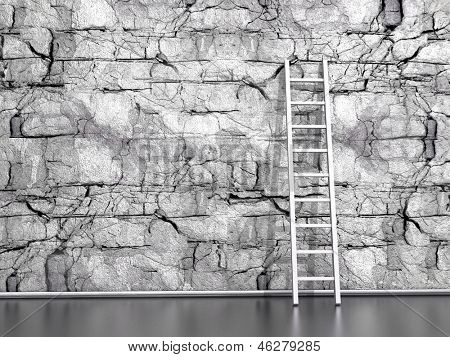 wall from the natural  stone with a wooden ladder