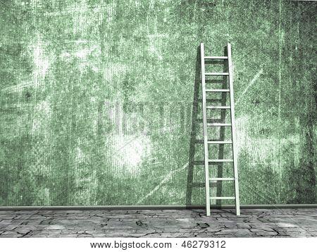 Schmutzige Grunge-Wand mit Holz-Leiter