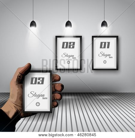 Original Infographics - Interior art gallery with 3 solutions on a wall and a hand indicating the best option. delicate shadows.