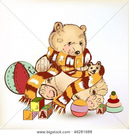 Cute Hand Drawn Plush Bear With Childish Toys For Design