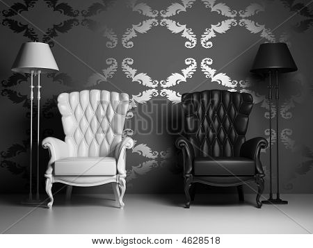 White & Black Armchairs