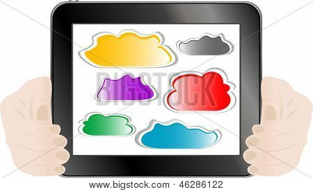 Woman Hand Holding Tablet Pc With Abstract Cloud