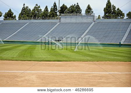 sports field with sprinklers