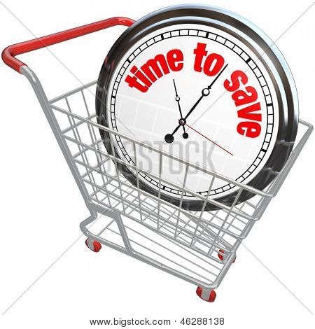 A white clock in a shopping cart with the words Time to Save advertising a special sale or discount clearance event on merchandise you want to buy