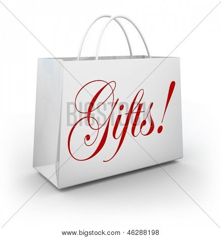 The word Gifts on a paper shopping bag from an upscale store to illustrate buying merchandise to offer as a present for a birthday, christmas or other special holiday or event