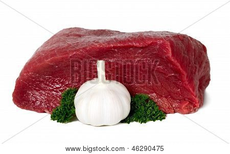 Raw Sliced Meat With Garlic