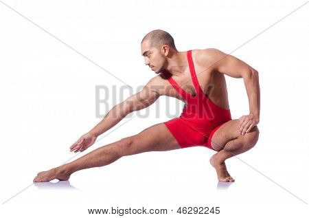 Young wrestler isolated on the white