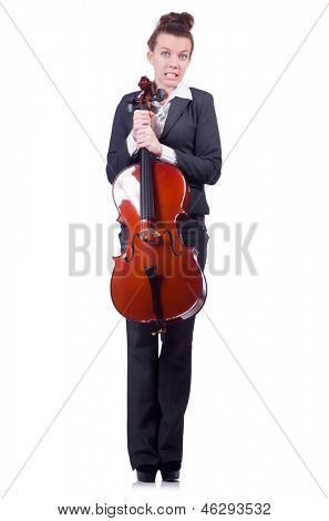 Businesswoman with violing isolated on white